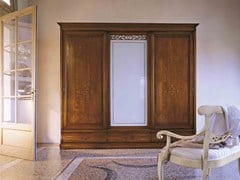 - Wood and glass wardrobe with sliding doors FENICE | Wardrobe with drawers - Arvestyle