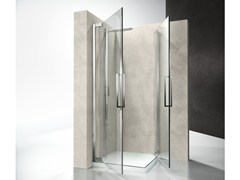 - Corner shower cabin with hinged door FLARE FA+FA - VISMARAVETRO