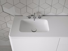 - Rectangular washbasin with integrated countertop FLUENT | Rectangular washbasin - INBANI