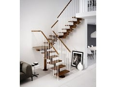 - U-shaped beech Open staircase with central stringer GAMMA | U-shaped Open staircase - RINTAL