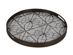 - Round wood and glass tray GEOMETRY | Round tray - Notre Monde