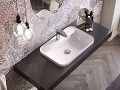 - Inset rectangular ceramic washbasin GIÒ EVOLUTION | Rectangular washbasin - Hidra Ceramica