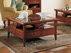 - Solid wood coffee table with storage space GIOTTO | Square coffee table - Arvestyle