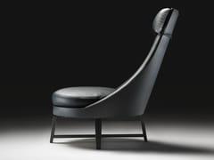 - High-back leather armchair GUSCIOALTO | Armchair with headrest - FLEXFORM