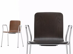 - Stackable wooden chair with armrests HAL PLY CAFETERIA - Vitra