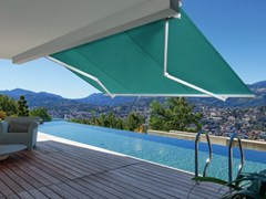 - Motorized fabric Folding arm awning HORIZON - Arquati Service