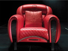 - Upholstered leather armchair with armrests IMOLA CARBON | Armchair - Tonino Lamborghini Casa