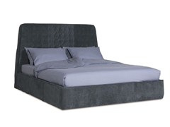 - Leather bed with upholstered headboard INNSBRUCK | Leather bed - BAXTER
