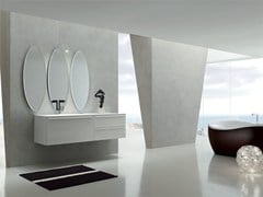 - Lacquered single vanity unit KARMA - COMPOSITION 32 - Arcom
