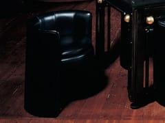 - Upholstered leather armchair with armrests LEONARDO | Armchair - MIRABILI