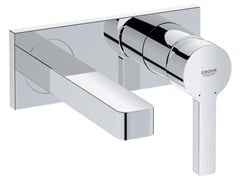 - 2 hole single handle washbasin mixer with plate LINEARE SIZE S | Wall-mounted washbasin mixer - Grohe