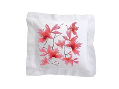 Cuscino quadrato in lino con motivi florealiPEACH BLOSSOM | Cuscino in lino - SANS TABÙ