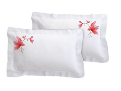 Set federe in lino con motivi florealiPEACH BLOSSOM | Federa in lino - SANS TABÙ