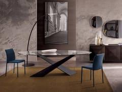 Tavolo ovale in cristallo e metallo verniciatoLIVING - GRAFITE & CRISTALLO - RIFLESSI