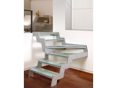 - L-shaped glass Open staircase LOFT | L-shaped Open staircase - RINTAL