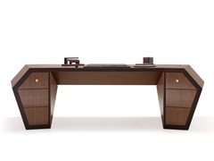 - Lacquered wood veneer executive desk with drawers LONG BEACH | Wood veneer office desk - Tonino Lamborghini Casa by Formitalia Group