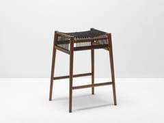 - High walnut barstool with footrest LOOM | High stool - H Furniture