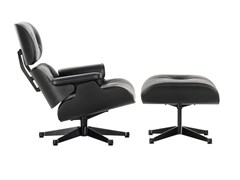 - Swivel leather armchair LOUNGE CHAIR & OTTOMAN BLACK VERSION - Vitra