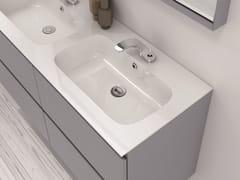 - Double Mineralmarmo® washbasin countertop M2   Mineralmarmo® washbasin countertop - INBANI