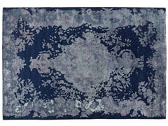 - Patterned handmade rectangular rug MARIE ANTOINETTE DARK BLUE - Golran
