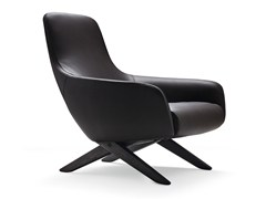 - Upholstered leather armchair with armrests MARLON | Leather armchair - Poliform