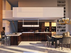 Cucina componibile in gres porcellanato con isola MATERIA - GOLD EDITION - FEBAL CASA BY COLOMBINI GROUP