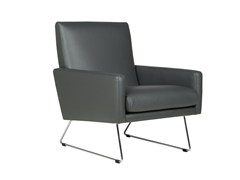 - Sled base leather armchair with armrests MAX | Leather armchair - SITS