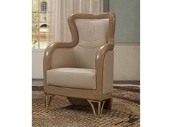 - Upholstered leather easy chair high-back MILLA | Easy chair high-back - Formitalia Group