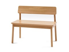 - Wooden bench with back MINE BENCH L - Z-Editions