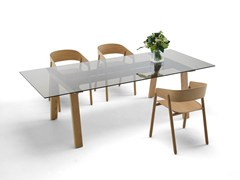 - Rectangular wood and glass table MITIS | Wood and glass table - Punt
