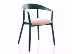 - Upholstered lacquered solid wood chair with armrests MITO | Upholstered chair - conmoto by Lions at Work