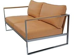 - Sled base 2 seater leather sofa MONACO   2 seater sofa - Röshults