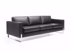 - Sled base 3 seater leather sofa MYTURN 30V - profim
