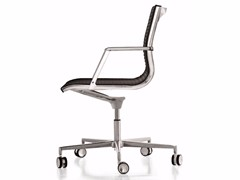 - Leather reception chair with 5-spoke base with casters NULITE | Chair with casters - Luxy