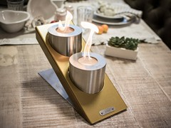 - Table-top bioethanol steel fireplace OBLIQUE TABLETOP DOUBLE - GlammFire