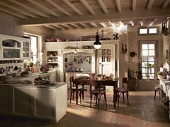 - Fitted wood kitchen OLD ENGLAND - COMPOSITION 01 - Marchi Cucine