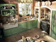 - Fitted wood kitchen OLD ENGLAND - COMPOSITION 03 - Marchi Cucine