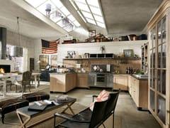 - Cucina componibile in legno massello con penisola PANAMERA - COMPOSIZIONE 01 - Marchi Cucine