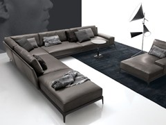- Corner sectional leather sofa with removable cover PARK | Corner sofa - Poliform