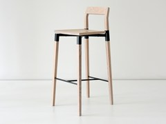 - Solid wood counter stool with footrest PARKDALE | Counter stool - hollis+morris