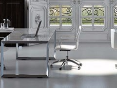 - L-shaped crystal office desk PITAGORA PVDV20 - Arcadia Componibili - Gruppo Penta