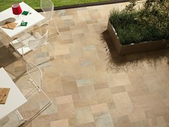- Porcelain stoneware outdoor floor tiles with stone effect POINT BEIGE MULTICOLOR - CERAMICHE KEOPE