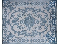 - Patterned handmade custom wool rug POMPADOUR SKY - EDITION BOUGAINVILLE