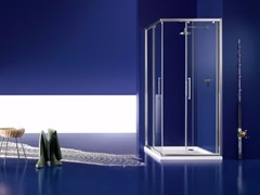 - Corner glass shower cabin with sliding door PRAIA - 1 - INDA®