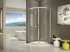 - Corner semicircular glass and aluminium shower cabin STILA 2000 - DUKA