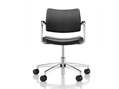 - Leather chair with 5-spoke base with armrests with casters PRO | Chair with casters - Boss Design