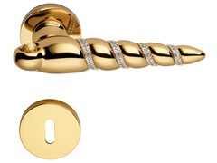 Brass door handle with Swarovski® Crystals with lock SHELL MESH | Door handle with lock - LINEA CALI'