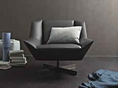 - Upholstered leather armchair with 4-spoke base TIGHT | Armchair with 4-spoke base - MOLTENI & C.