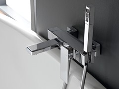 - Wall-mounted chrome-plated bathtub mixer with hand shower TOSCANO - ZAZZERI
