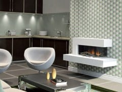 - Wall-mounted electric fireplace with panoramic glass VISTA SUITE - BRITISH FIRES